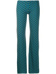 Fisico Geometric Print Trousers Blue