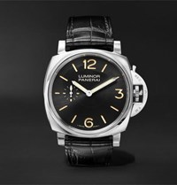 Officine Panerai Luminor 1950 3 Days Acciaio 42Mm Stainless Steel And Alligator Watch Black