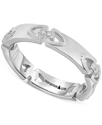 Proposition Love Diamond Triangle Motif Women's Wedding Band In 14K White Gold 1 10 Ct. T.W.