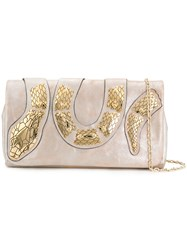 Red Valentino Foldover Snake Clutch Metallic