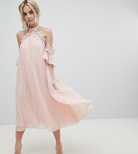 True Decadence Petite Pleated Swing Dress With Cold Shoulder Detail Pale Peach Orange