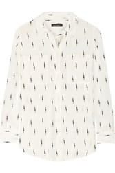 Kate Moss For Equipment Slim Signature Printed Washed Silk Shirt Ivory