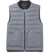 Brunello Cucinelli Reversible Slub Linen And Tech Shell Down Gilet Navy
