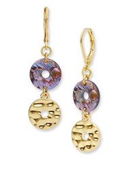 Lonna And Lilly Abalone Disc Double Drop Earrings Purple