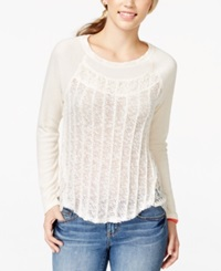 Almost Famous Juniors' Long Sleeve Contrast Top Cream