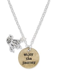 Macy's Two Tone Enjoy The Journey Disc And Bird Charm Pendant Necklace Two Tone