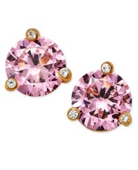 Kate Spade New York Gold Tone Pink Stone And Crystal Stud Earrings Lightrose