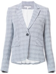 Veronica Beard Plaid Blazer Women Cotton Nylon Viscose 8 Blue