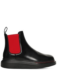 Alexander Mcqueen 40Mm Hybrid Leather Chelsea Boots Black Red