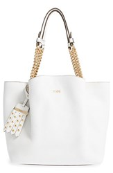 Tod's 'Small Flower' Leather Shopper With Chain Handles