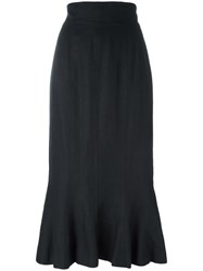 Chanel Vintage Mermaid Midi Skirt Black