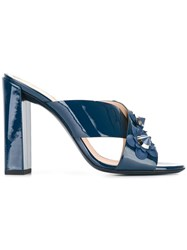 Fendi Flower Applique Crossover Sandals Blue