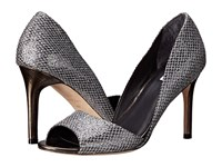 Cole Haan Antonia Open Toe Pump Silver Gunmetal Glitter Dark Silver Metallic High Heels