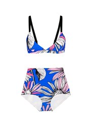 Chictopia Floral Print Bikini Set Blue Multi Colour