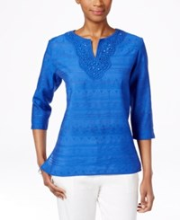 Alfred Dunner Petite Embellished Lace Yoke Tunic Cobalt
