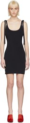 Alyx Black Tie Shoulder Rib Dress