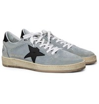 Golden Goose Deluxe Brand Ball Star Distressed Suede And Leather Sneakers Gray
