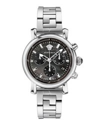 Versace 38Mm Day Glam Stainless Steel Chronograph Watch Black