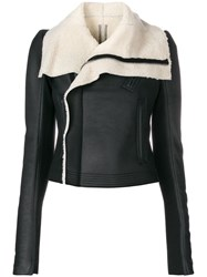 Rick Owens Shearling Lined Biker Jacket Black