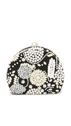Santi Imitation Pearl Embroidered Clutch Black Ivory