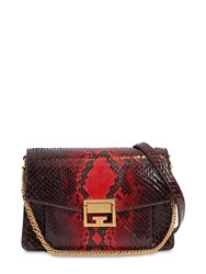 Givenchy Small Gv3 Leather And Python Shoulder Bag Red