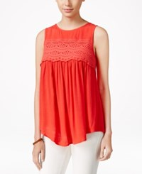 Eyeshadow Juniors' Sleeveless High Low Blouse Hibiscus