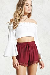 Forever 21 Lace Embroidered Smocked Shorts