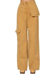 Jacquemus High Waist Cotton Denim Cargo Pants Sand