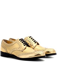 Dolce And Gabbana Metallic Leather Derby Shoes Gold