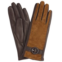 John Lewis Suede Middle Buckle Detail Gloves Chocolate Tan