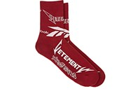 Vetements Men's Logo Cotton Blend Mid Calf Socks Burgundy