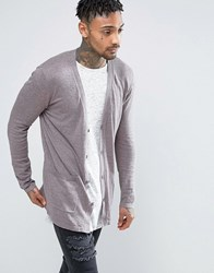 Asos Longline Cardigan In Mauve Grey Cotton Mauve
