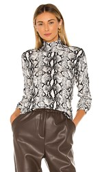 525 America Python Print Turtleneck In Black And White. Black Multi
