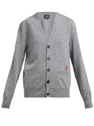 Calvin Klein 205W39nyc Drop Embroidered Wool Blend Cardigan Grey