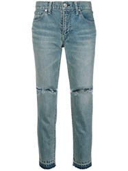 Sacai Distressed Cropped Jeans Blue