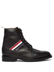 Thom Browne Longwing Grained Leather Boots Black