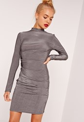 Missguided Long Sleeve Bodycon Dress Silver Grey