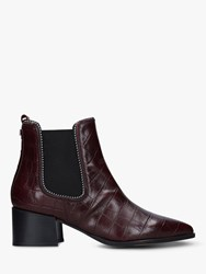 Carvela Spire Block Heel Studded Leather Ankle Boots Red