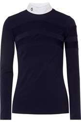 Cavalleria Toscana Technical Show Poplin Trimmed Stretch Jersey Top Midnight Blue