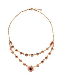 Roberto Coin 18K Rose Gold Pink Sapphire And Tourmaline Flower Necklace