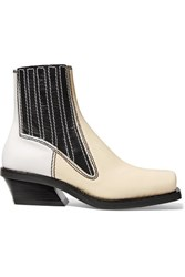 Proenza Schouler Paneled Leather Ankle Boots Ecru