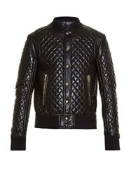Balmain Diamond Quilted Leather Bomber Jacket Black