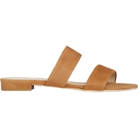 Barneys New York Suede Double Band Slides Beige Tan