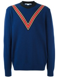 Stella Mccartney V Intarsia Jumper Blue