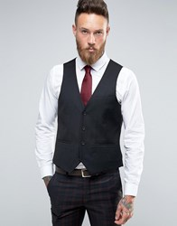 Harry Brown Slim Fit Waistcoat In Black Black Red
