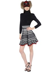 Dsquared High Collar Jacquard Knit Dress