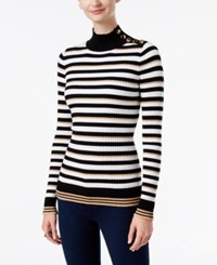 Inc International Concepts Mock Neck Button Trim Sweater Only At Macy's Lurex Stripe