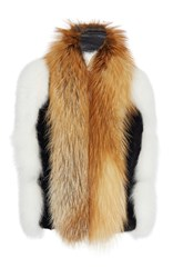 Lanvin Fox Fur Stole With Patent Belt Multi