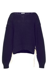 Ulla Johnson Elliot Lace Up Knit Pullover Navy