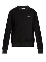 Everest Isles Coast Embroidered Cotton Sweatshirt Black
